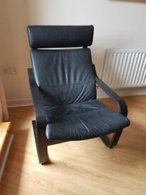 2 Ikea leather high backed chairs