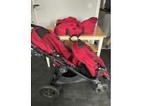 Baby jogger city select double pushchair pram in red