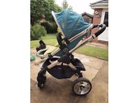 iCandy Peach 1 stroller / buggy/ pushchair in sweetpea (used) - including matching footmuff