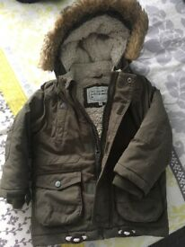 Boys Khaki Winter Coat, 2-3 years