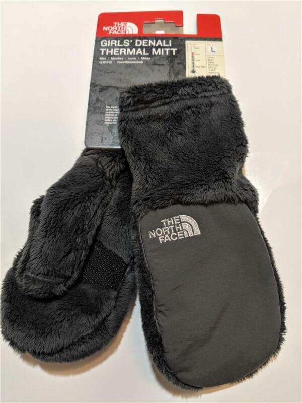 New The North Face Denali Fleece Winter Mittens Gray for Girls Kids Size S/M/L