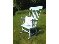 Shabby chic solid wooden rocking chair