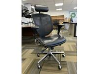 EasyErgo Black Executive Mesh Office Chair & Haworth White Height Adjustable Desk
