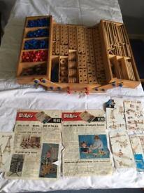 Bilofix - 1960s children's wooden building kit complete with original wooden box
