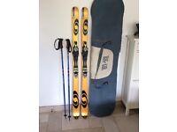 Salomon skis. 169. With bindings, poles and a big air bag