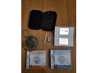 Nintendo DS lite with charger, protective casing and 3 games MARIO
