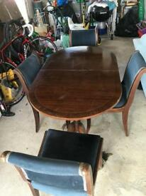 Mahogany Leaf Table and Chairs