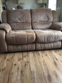 Lazy boy sofa - brown 2-seater comes apart to transport £100