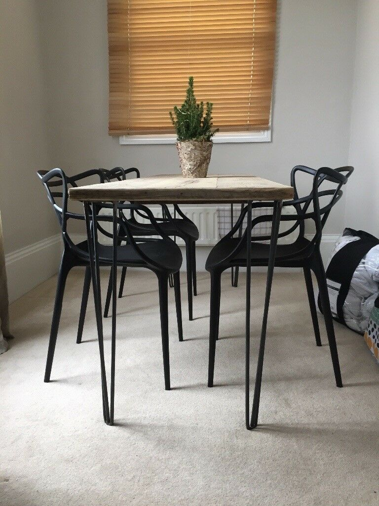 industrial dining table with pin legs