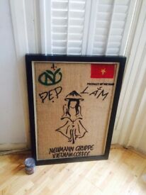Large Vietnamese wooden framed coffee sack Notting Hill