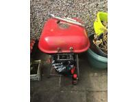 Red Charcoal Trolley BBQ Garden Outdoor Barbecue Cooking Grill Powder Wheel used