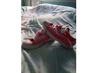 Custom made pink/white converse