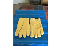 Men's yellow leather work gloves, size large, new