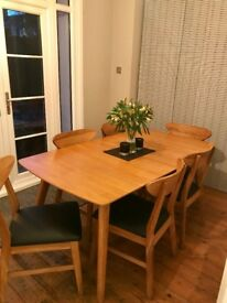 Extendable Modern Danish Dining Room Table & 6 Chairs