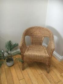 WICKER CHAIR SEAT Boho Rattan Tiki Mid Century ADULT Medium Size