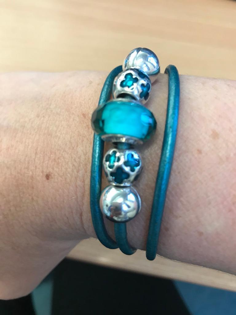 Genuine Leather Pandora Bracelet with Charms