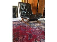 Genuine Swedish black leather vintage armchair REPAIRS
