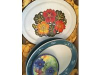 Range of posh glasses, pottery and crockery