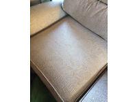 Two seater sofa / settee - oatmeal - good condition **Milton Keynes**