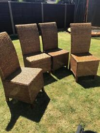 Wicker Dining room chairs x4