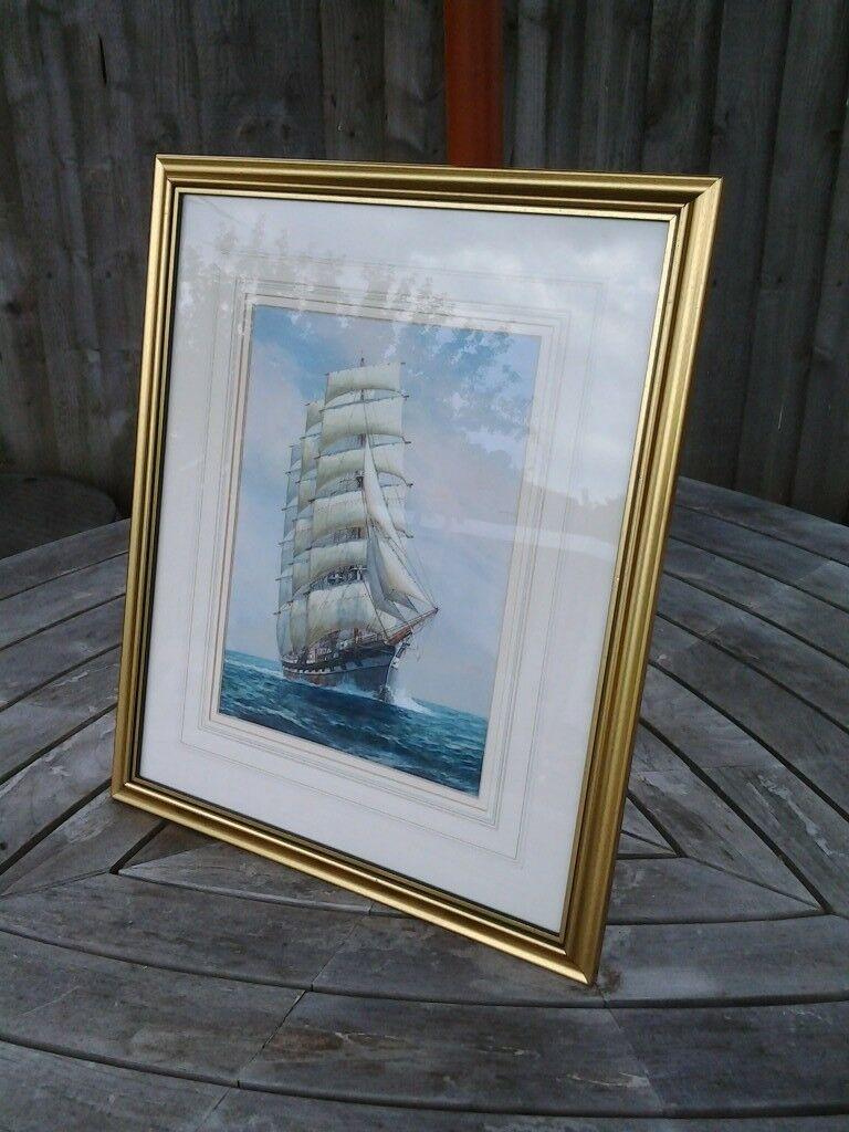 "water colour of ship in gold coloured frame. Approx. 16 1\2"" x ..."