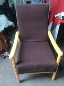 Chocolate Brown Chair with Beech Arms- High Back