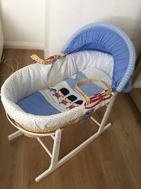 Moses basket and matching cot bedding