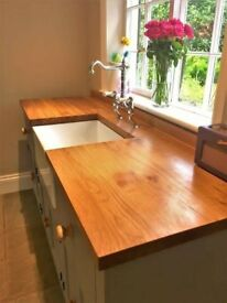 Free Standing Belfast Sink Unit with Rustic Oak Worktop, includes sink and taps