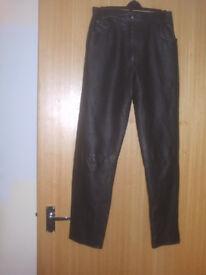 MILAN Ladies Black Leather Trousers Size 10