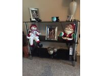 Black and crome glass side unit