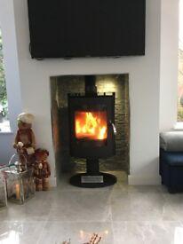 EX DISPLAY -LARGE TALL MODERN 12KW STOVE sunroom conservatory multi fuel wood turf woodburner