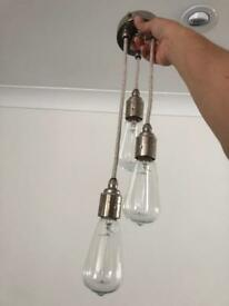 Triple pendant nickel light