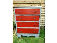 Vintage shabby chic chest of 4 drawers
