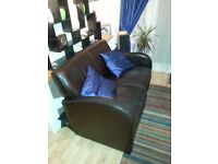 Art Deco style leather 2 seater sofa