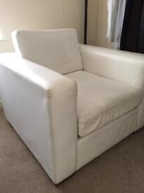 White leather cube armchair
