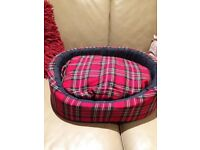 Tartan dog bed. Brand new. Never been used.