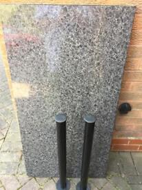 TABLE TOP BLACK/WHITE PLUS 2FRONT SUPPORT METAL LEGS