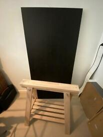IKEA Linnmon desk top 150cm x 75 black/brown, and 1 height adjustable trestle