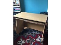 BEECH EFFECT COMPUTER DESK - WITH PULL OUT KEYBOARD SHELF
