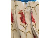 Two pairs cream curtains with floral design. Fits 135cm drop and each pair fits a 120cm wide window.