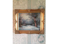 """Oil Painting by I Cafieri - Lovely Winter Landscape - 12"""" (30cms) wide - 10"""" (26 cms) High"""