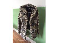 Ladies leopard print faux fur coat