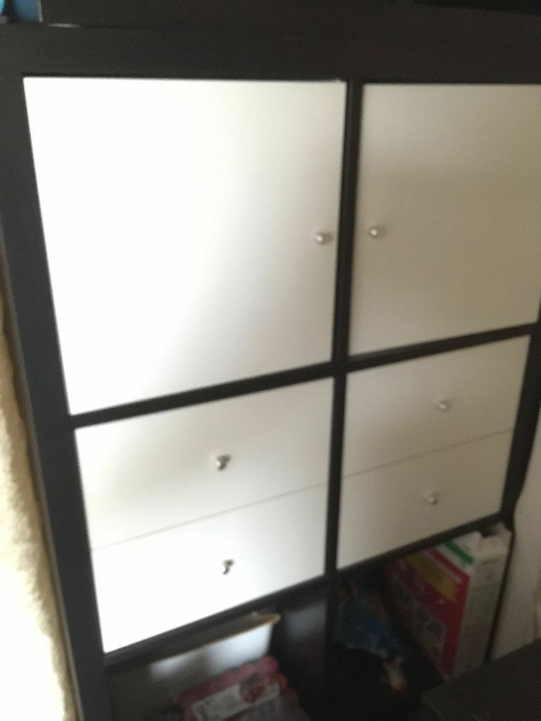 ikea kallax shelving unit black brown 4x2 unit drawer doors in ealing london gumtree. Black Bedroom Furniture Sets. Home Design Ideas