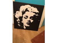 Marilyn Monroe Black and White Graphic Silhouette Canvas