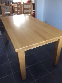 Really nice solid (heavy) beech wood dining table. Legs are removable to aid transporto