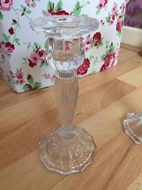 Clear glass candle stick holders