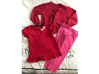 Girls' bundle outfit cardigan T-shirt leggings age 2-3