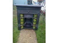 Victorian cast iron fire place, Original black combination tiled