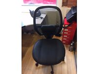 BLACK OFFICE CHAIR - WORN BUT COMFORTABLE