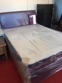 Dark purple chenille fabric divan bed